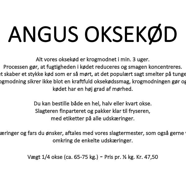 1/4 Økologisk Angus Okse